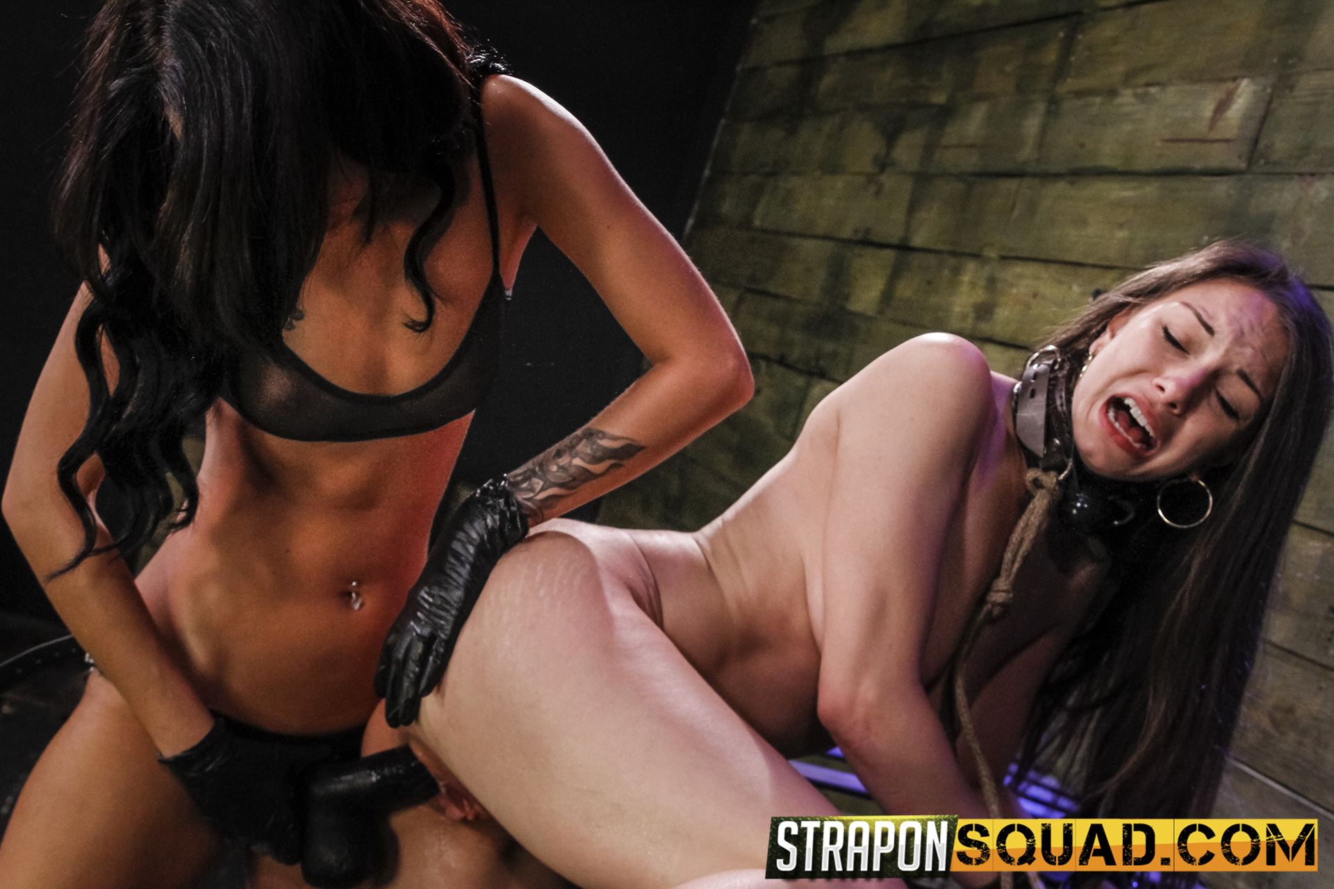 Lesbian domination and bondage with alexis rodriguez and esmi lee  dominatrix esmi lee never leaves her great black strapon dildo at home for dungeon play  she s quite beautiful at having hardcore bdsm fun with bondage rough sex spanking slapping tits bit. Mistress Esmi Lee never leaves her big black strapon dildo at home for dungeon play. She's quite beautiful at having hardcore BDSM fun with bondage, rough sex, spanking, slapping tits, biting nipples, smacking, flogging, deep penetration, constant orgasms and more sex toys. We're not sure if sex slave Alexis Rodriguez was ready for this shoot. We've never heard anyone scream and whine like her. Thank beautifulness for ball gags!